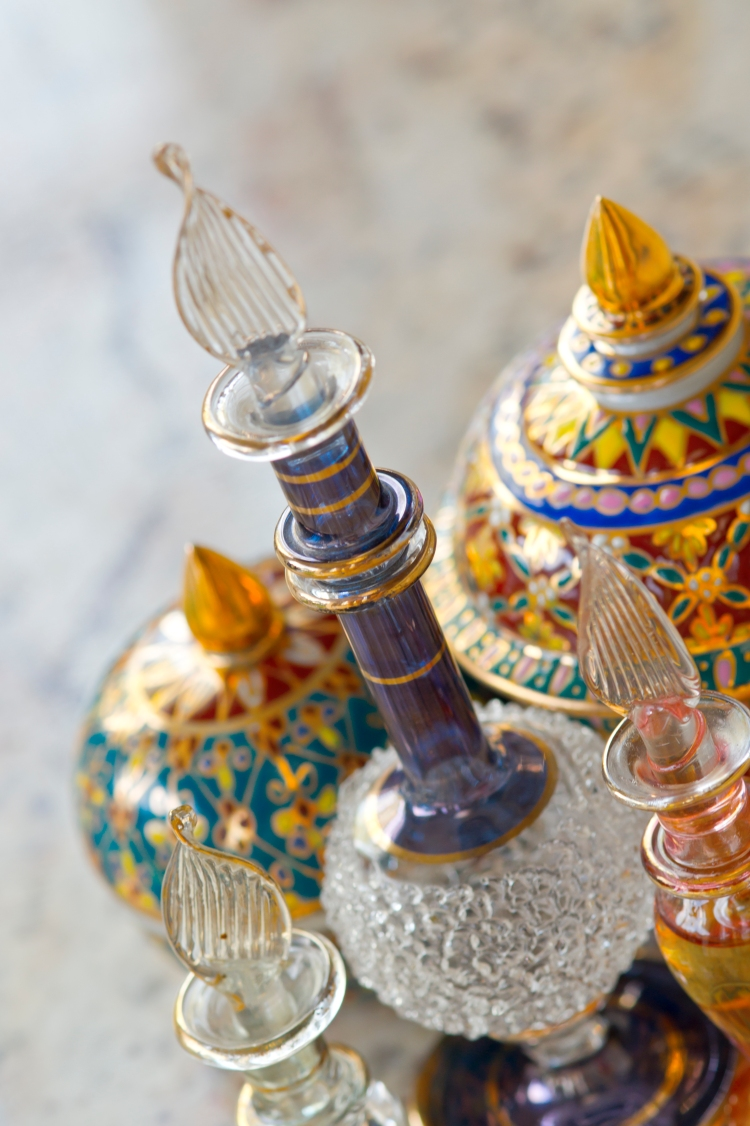 Glass small bottles and ceramic jars
