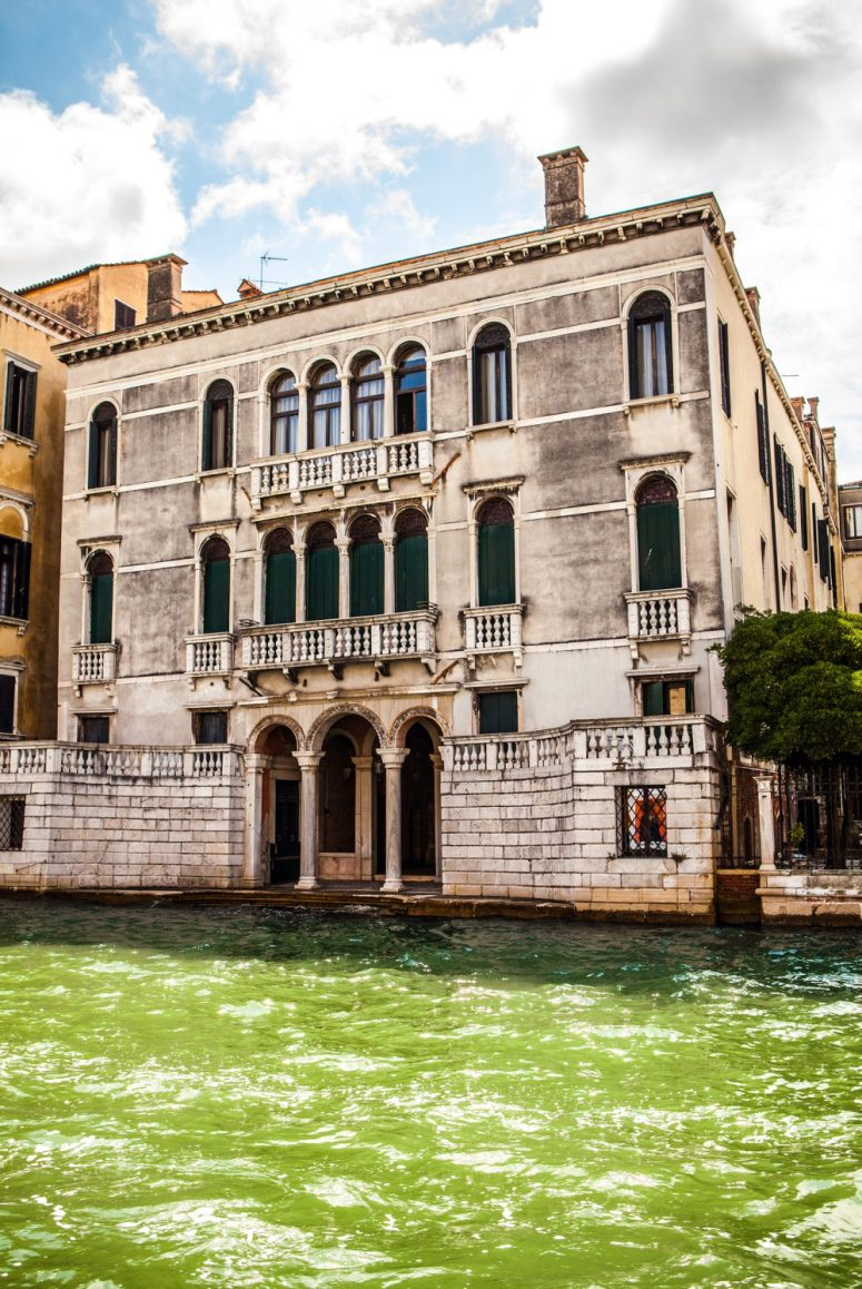 VENICE, ITALY -  Famous architectural monuments and colorful facades of old medieval buildings close-up