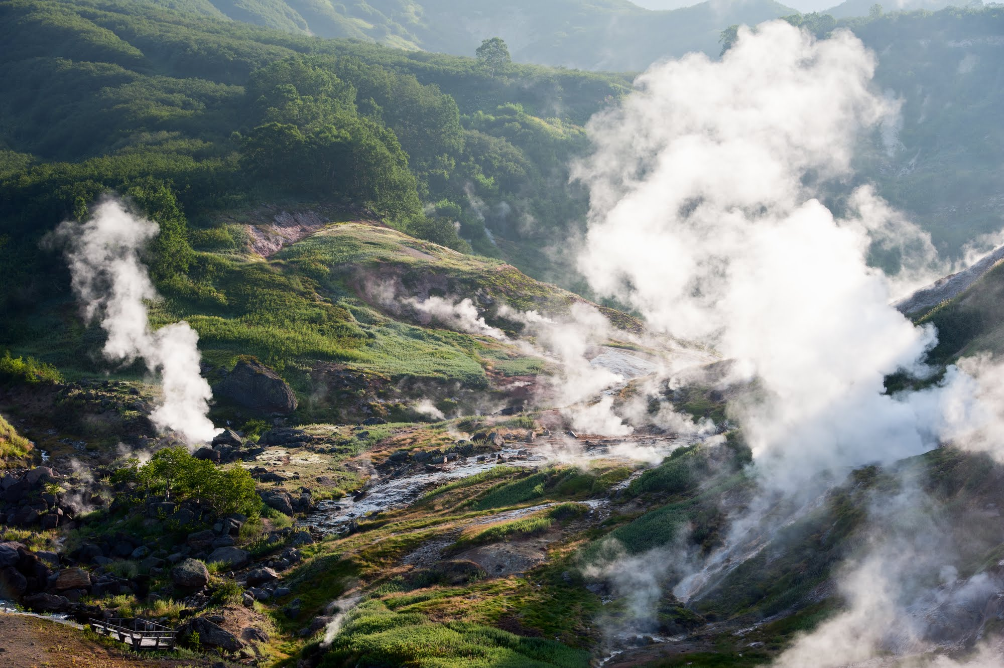 view of valley of geysers in kronotsky reserve